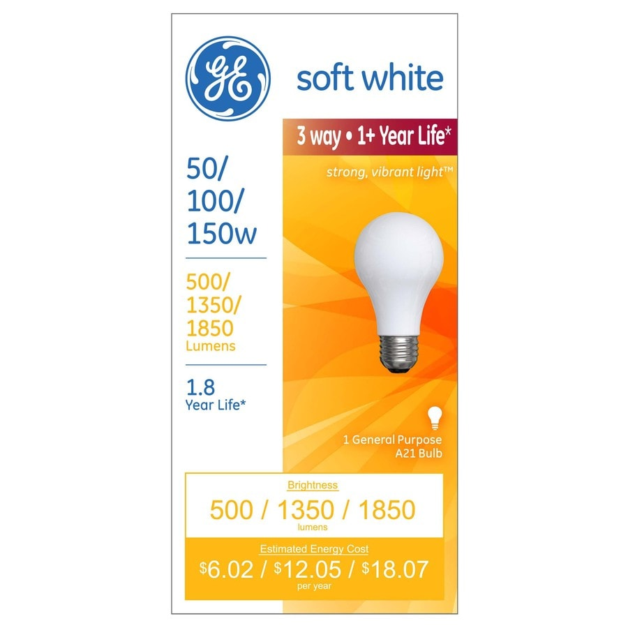 GE 150 Watt for Indoor or Enclosed Outdoor Dimmable Soft White 3-Way Bulb A21 Incandescent Light Fixture Light Bulb