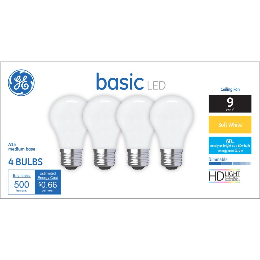 ge basic 60 watt eq a15 soft white dimmable led light bulb. Black Bedroom Furniture Sets. Home Design Ideas