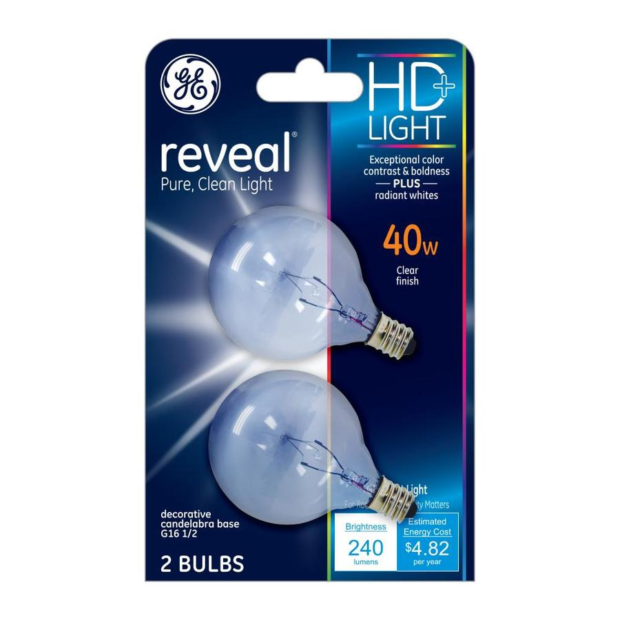 Lowes Novelty Lighting : Shop GE Reveal 2-Pack 40 Watt Indoor Dimmable Color-Enhancing G16.5 Incandescent Decorative ...