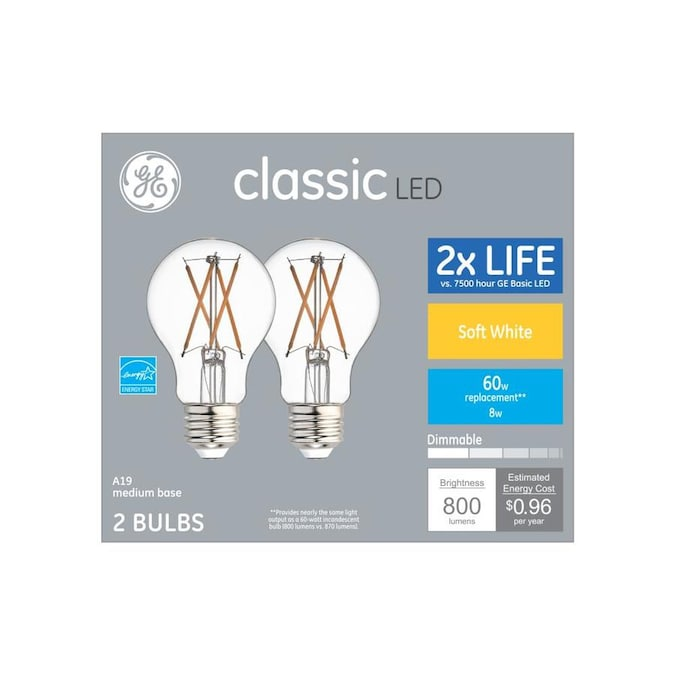 Ge Classic 60 Watt Eq A19 Soft White Dimmable Led Light Bulb 2 Pack In The General Purpose Led Light Bulbs Department At Lowes Com