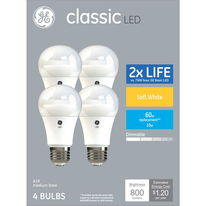 Ge Classic Plastic 60 Watt Eq A19 Soft White Dimmable Led Light Bulb 4 Pack In The General Purpose Led Light Bulbs Department At Lowes Com