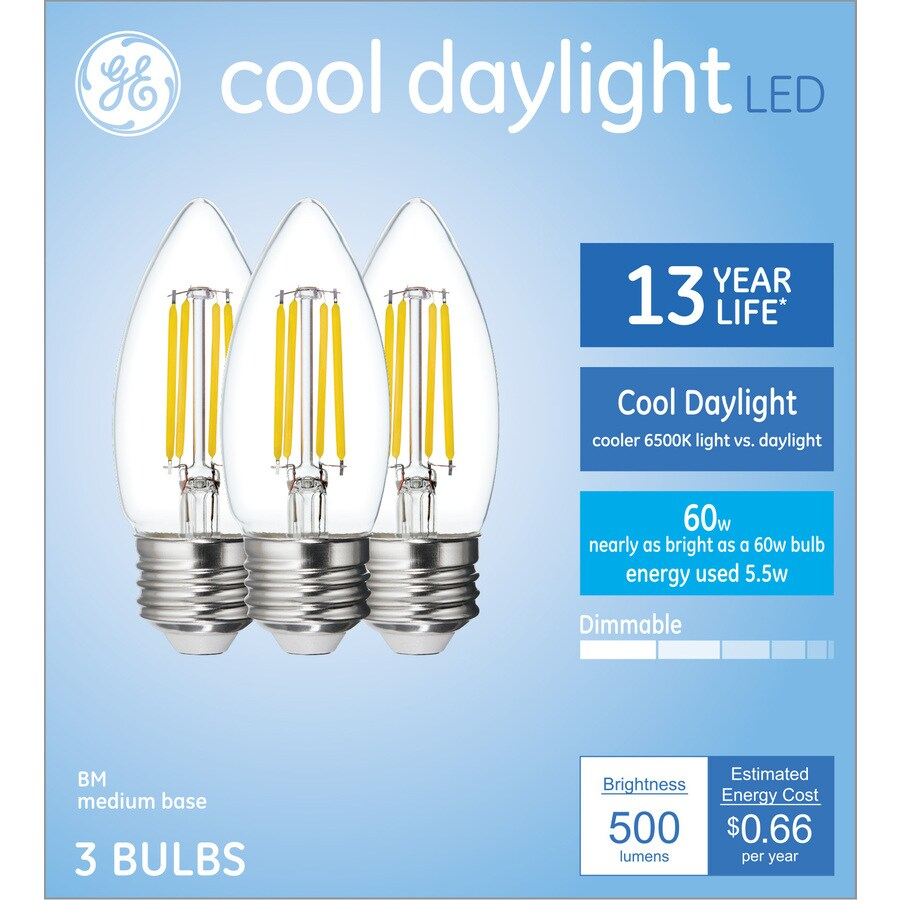 Ge Decorative Light Bulbs 60 Watt Eq B11 Cool Daylight Dimmable Candle Light Bulb 3 Pack In The Decorative Light Bulbs Department At Lowes Com
