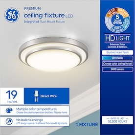Ge 19 In Brushed Nickel Traditional Led Semi Flush Mount Light In The Flush Mount Lighting Department At Lowes Com