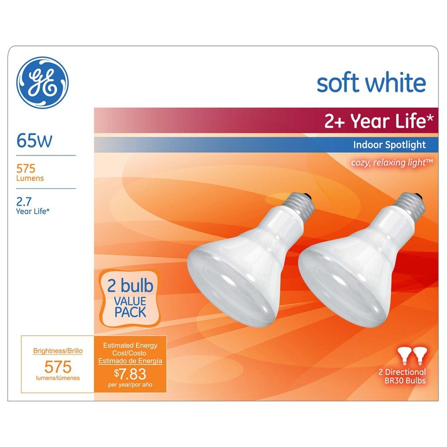 GE 2-Pack 65 Watt for Indoor or Enclosed Outdoor Dimmable Soft White Br30 Incandescent Spot Light Bulbs
