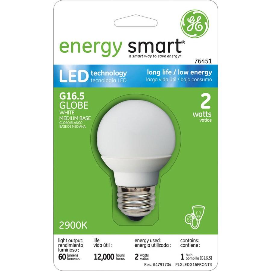 GE 2-Watt (15W) G16.5 Medium Base Soft White (2700K) Decorative Globe LED Bulb ENERGY STAR