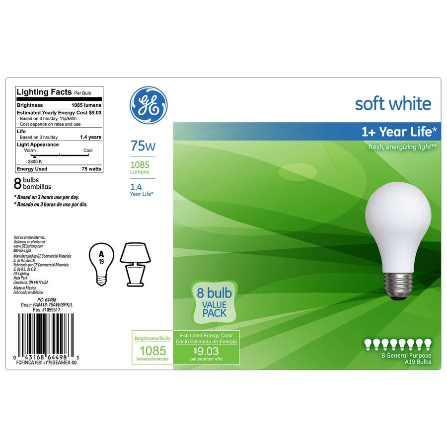 GE 8-Pack 75 Watt for Indoor or Enclosed Outdoor Dimmable Soft White A19 Incandescent Light Fixture Light Bulbs