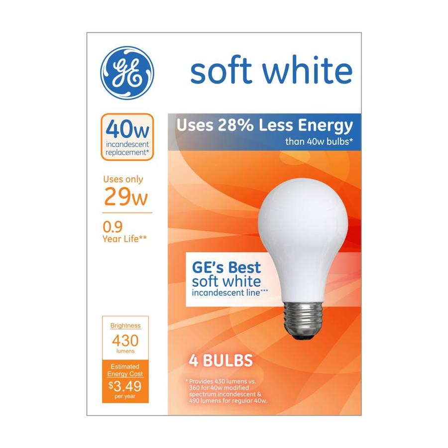 Ge classic 40 watt eq dimmable soft white a style light fixture halogen light bulb 4 pack