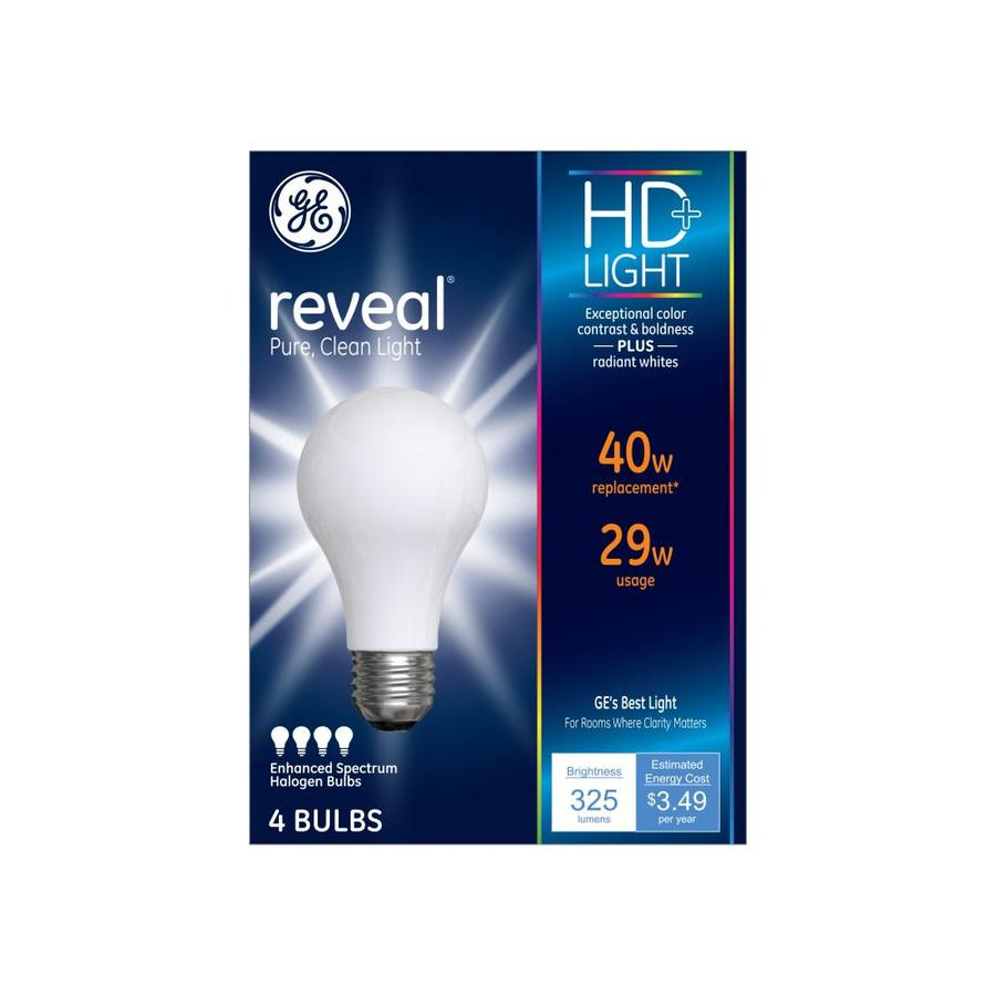 Shop Ge Reveal 4 Pack 29 Watt Dimmable Color Enhancing A19 Halogen Light Fixture Light Bulbs At