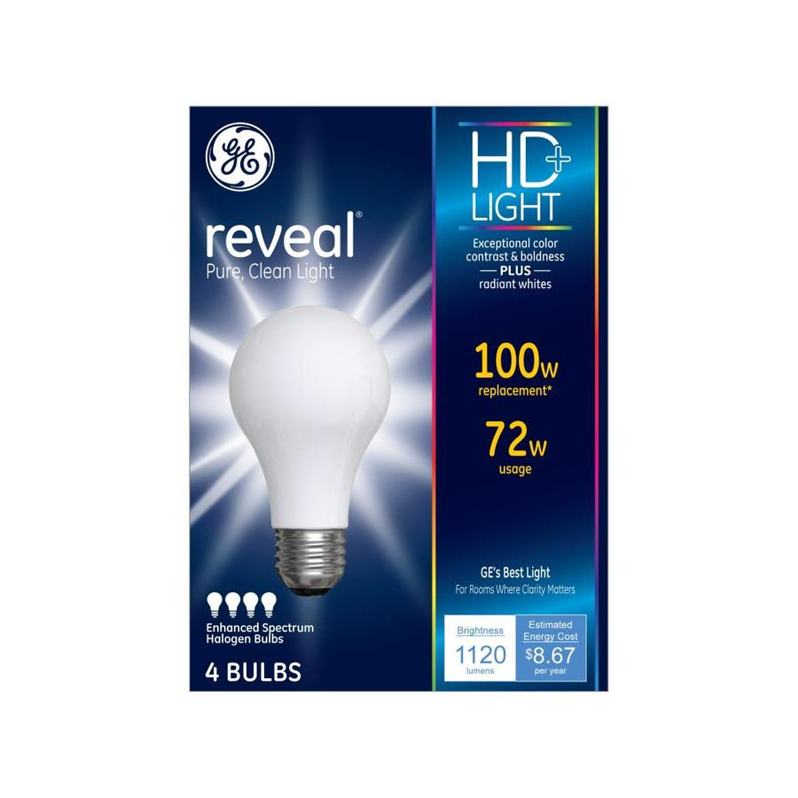 GE Reveal 4-Pack 72 Watt Dimmable Color-Enhancing A19 Halogen Light Fixture Light Bulbs