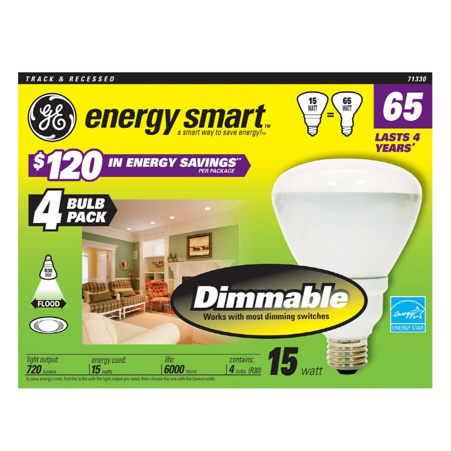 GE 4-Pack 65W Equivalent Dimmable Soft White Br30 CFL Light Bulbs