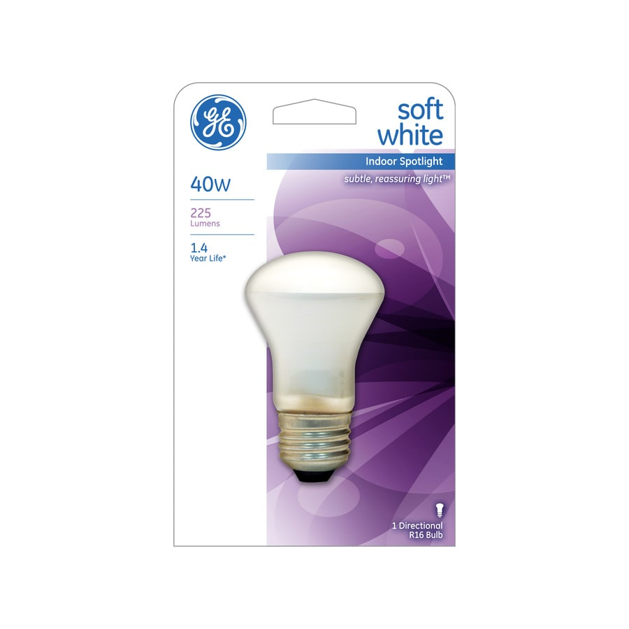 Shop ge 40 watt indoor dimmable soft white r16 incandescent decorative light bulb at Light bulb wattage
