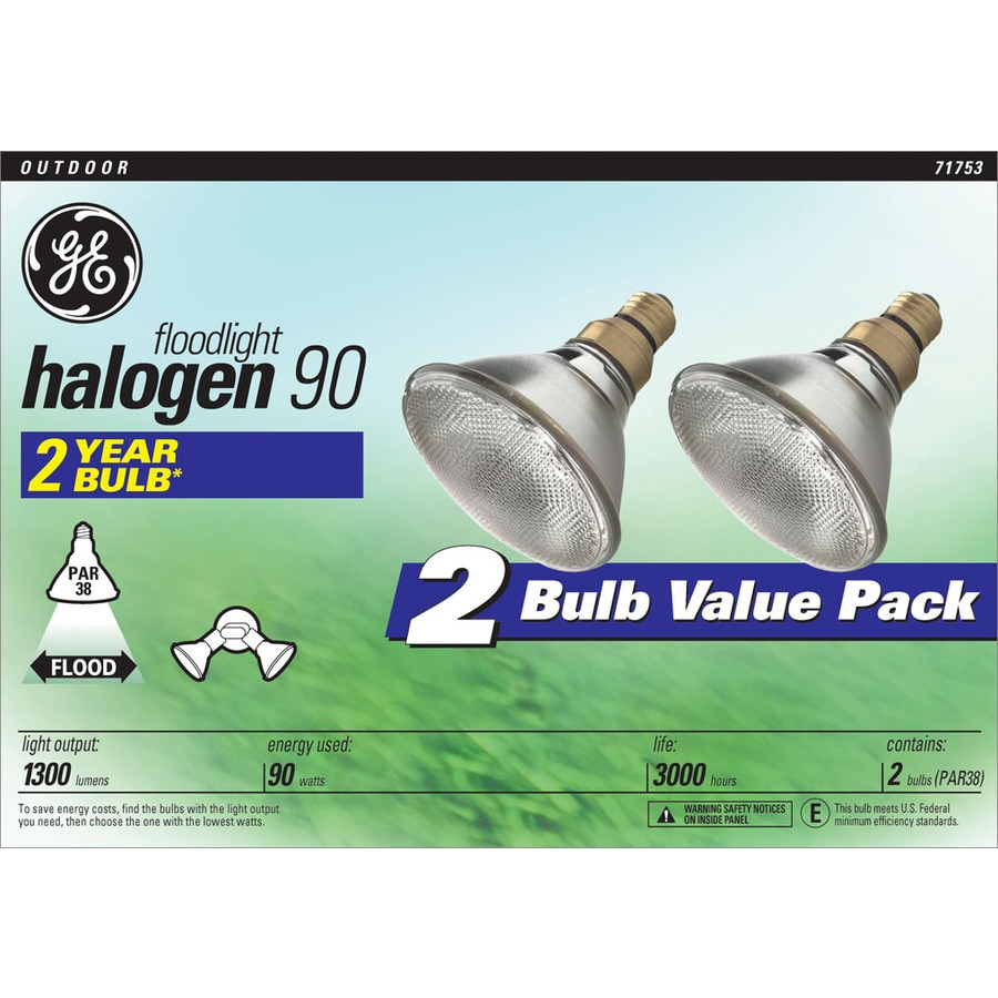 GE 2-Pack 90 Watt Dimmable Bright White PAR38 Halogen Flood Light Bulb