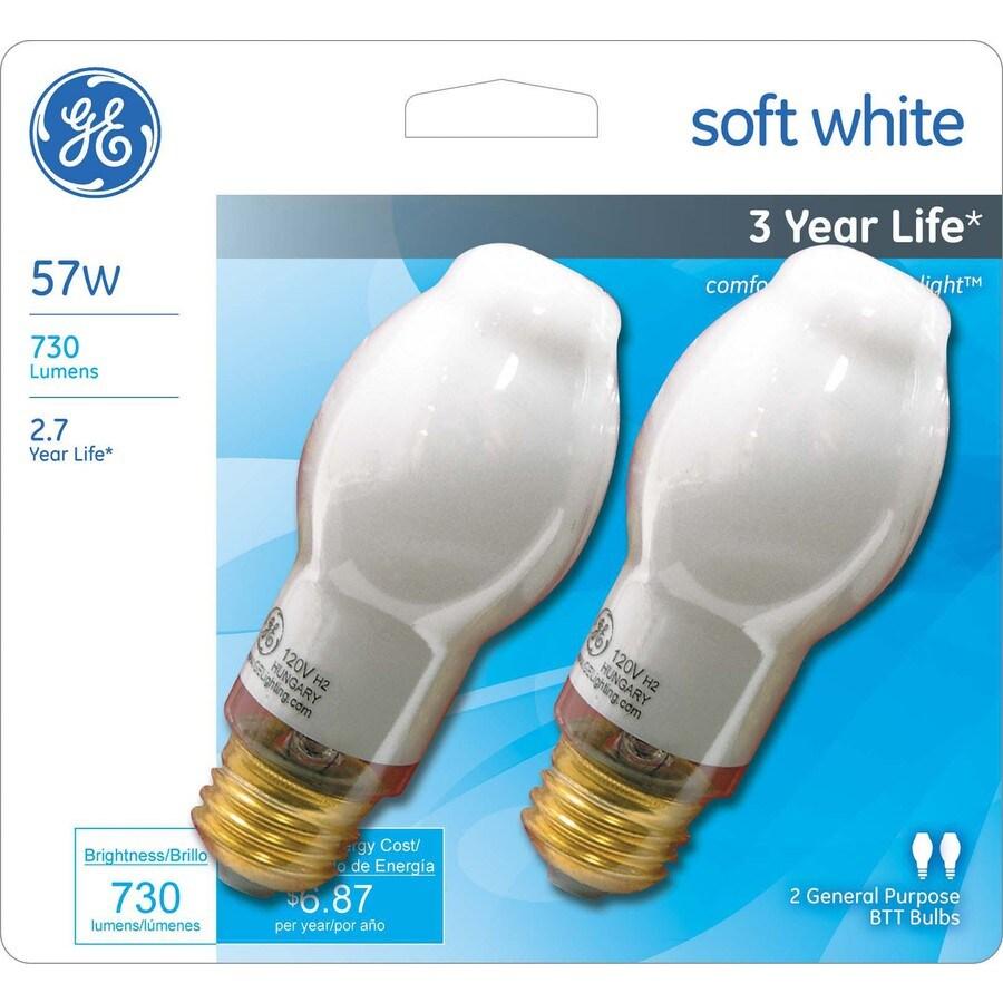 GE 2-Pack 57-Watt BT Medium Base Soft White Light Bulbs