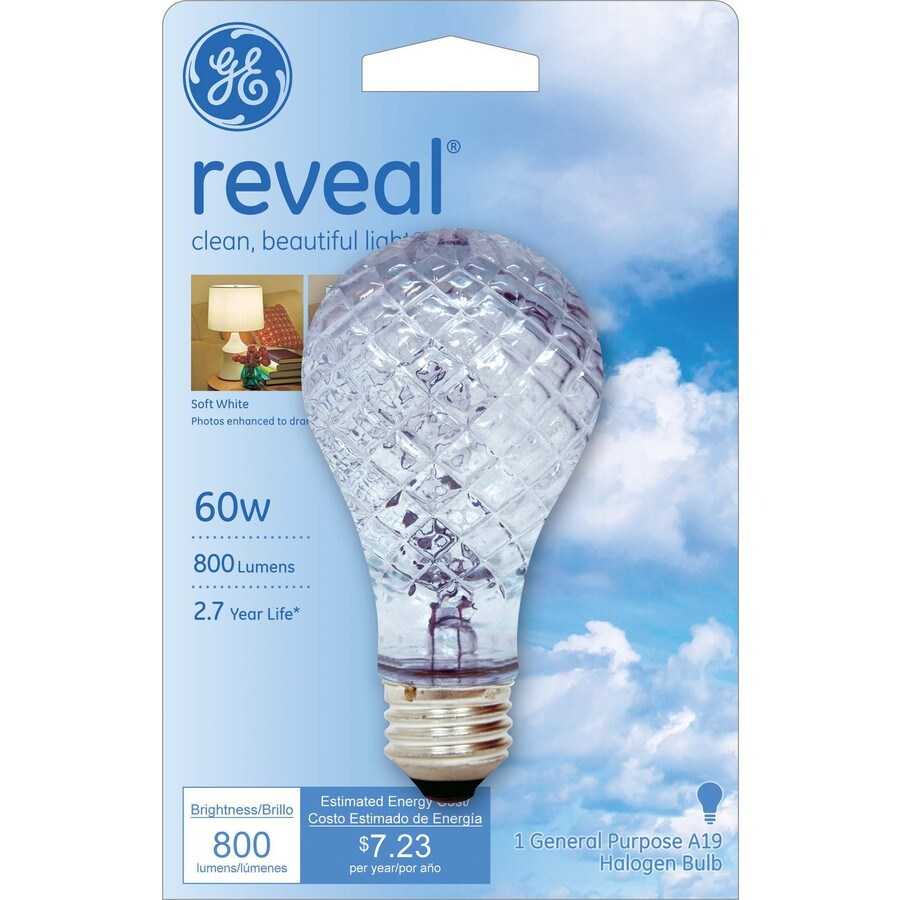 GE 60 Watt Dimmable Color-Enhancing A19 Halogen Light Fixture Light Bulb