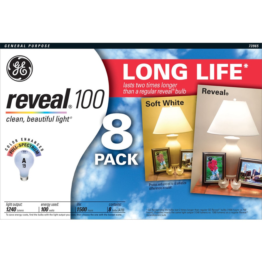 GE 8-Pack 100 Watt for Indoor or Enclosed Outdoor Dimmable Color-Enhancing A19 Incandescent Light Fixture Light Bulbs
