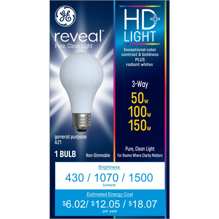 Shop ge reveal 150 watt indoor dimmable color enhancing 3 way bulb a21 incandescent decorative 3 way light bulbs
