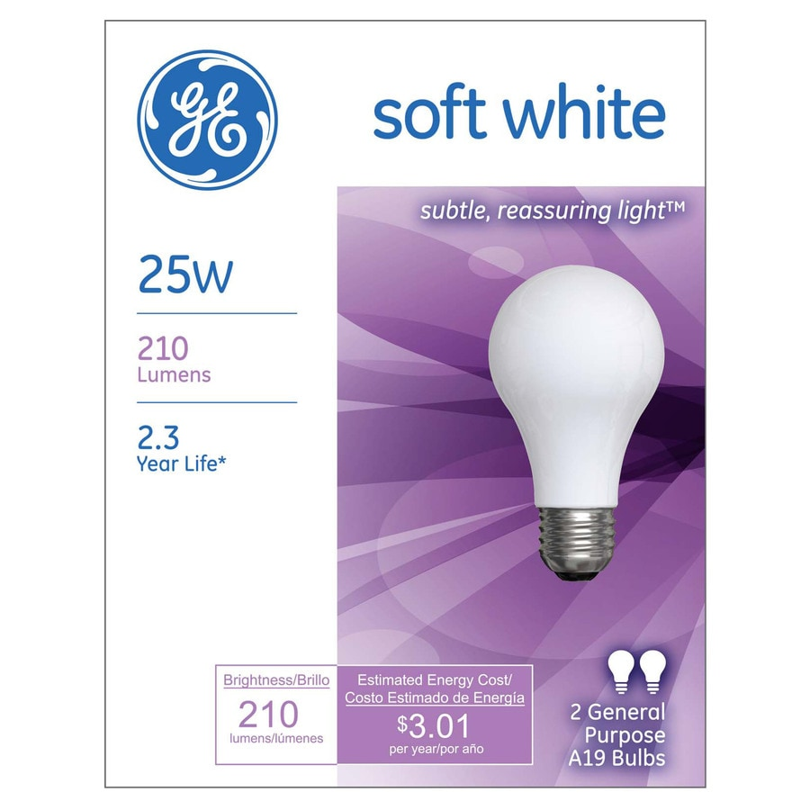 GE 2-Pack 25 Watt for Indoor or Enclosed Outdoor Dimmable Soft White A19 Incandescent Light Fixture Light Bulbs