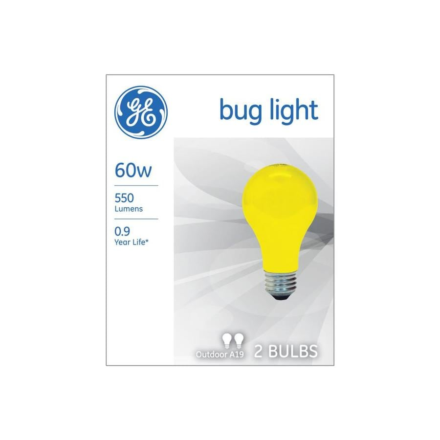 GE Classic 60-Watt Dimmable A19 Bug Incandescent Light Bulb (2-Pack