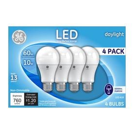 GE 4 Pack 60 W Equivalent Daylight A19 LED Light Fixture Light Bulbs