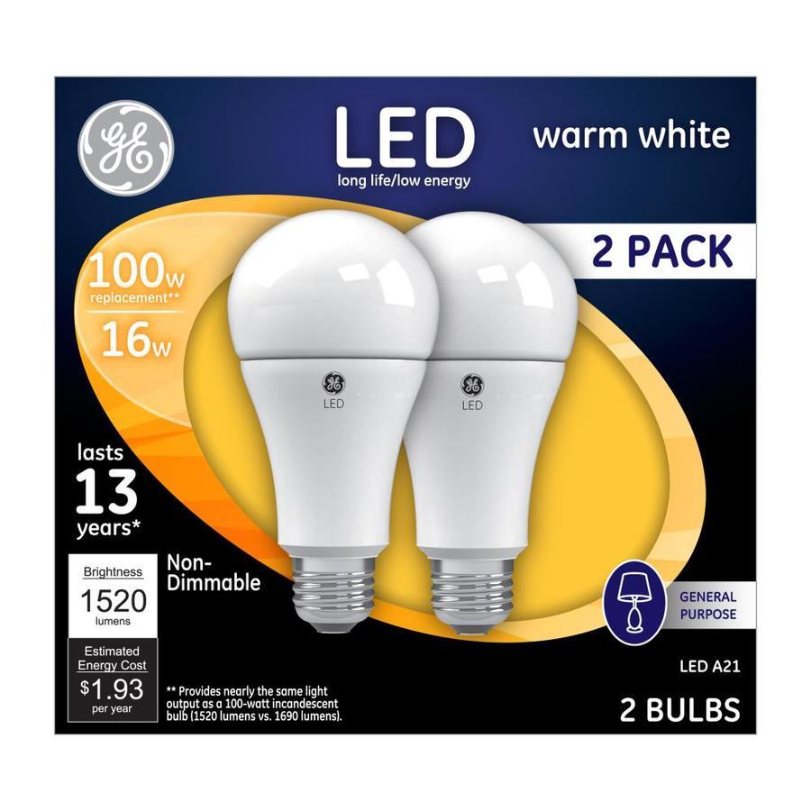 GE 2-Pack 100 W Equivalent Warm White A21 LED Light Fixture Light Bulbs