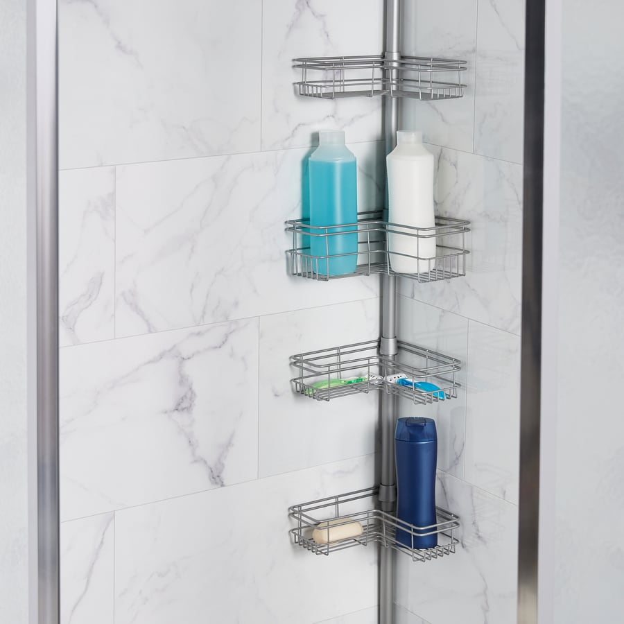 Zenith 97 In H Steel Brushed Nickel Tension Pole Freestanding Shower Caddy