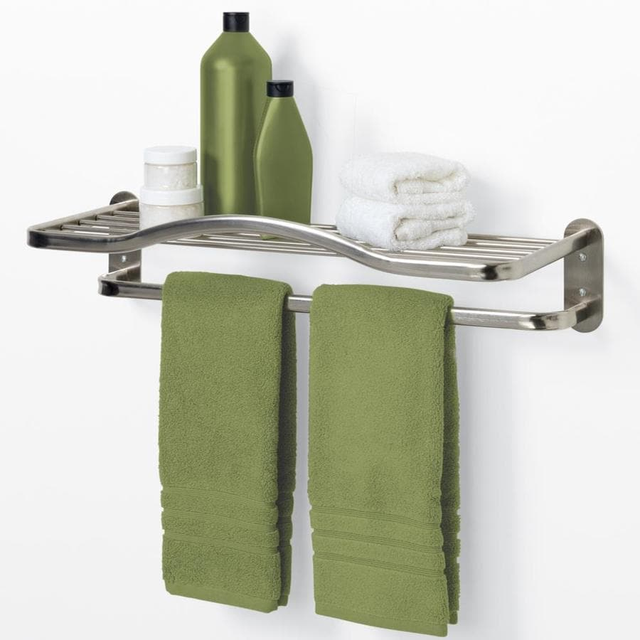 Shop allen + roth 1-Tier Brushed Nickel Zinc Bathroom Shelf at Lowes.com