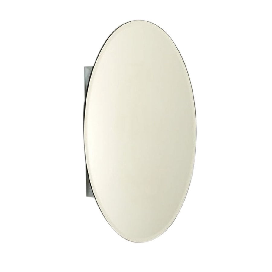 Zenith Designer 20-in x 30-in Oval Surface/Recessed Mirrored Aluminum Medicine Cabinet