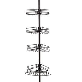 Zenith 97 In H Steel Bronze Tension Pole Freestanding Shower Caddy