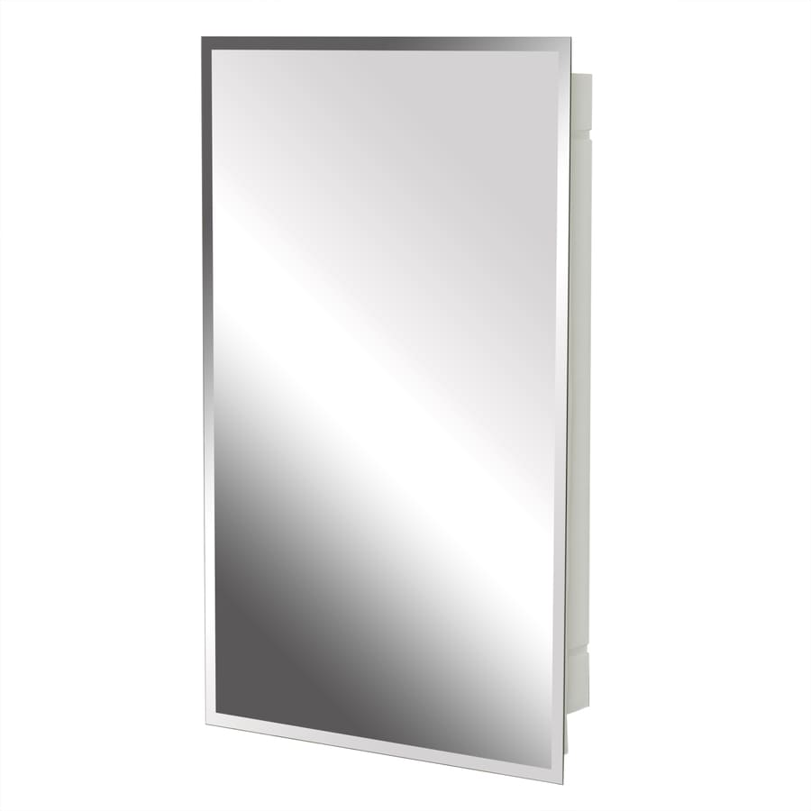 Project Source 16-in x 26-in Rectangle Surface/Recessed Mirrored Plastic Medicine Cabinet