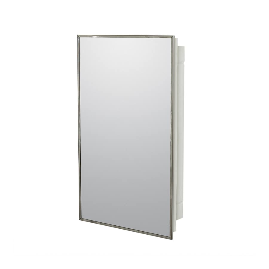 Project Source 16.13-in x 26.13-in Rectangle Surface/Recessed Mirrored Plastic Medicine Cabinet