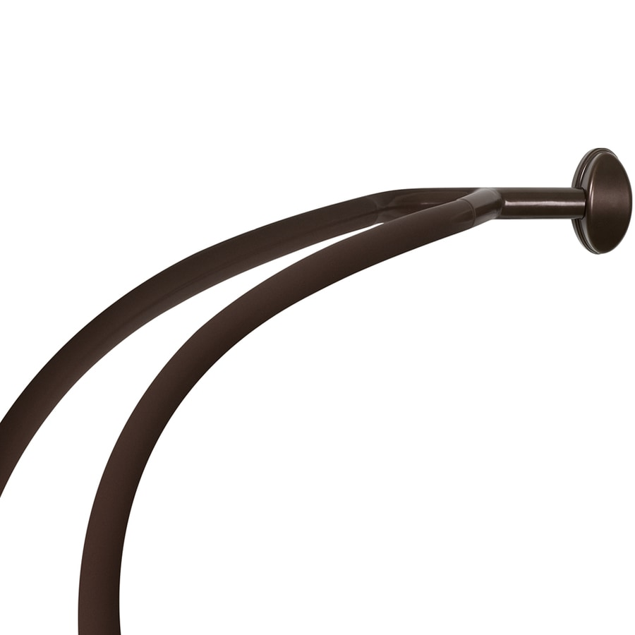 Allen Roth 56 72 In Oil Rubbed Bronze Curved Adjule Double Shower Curtain