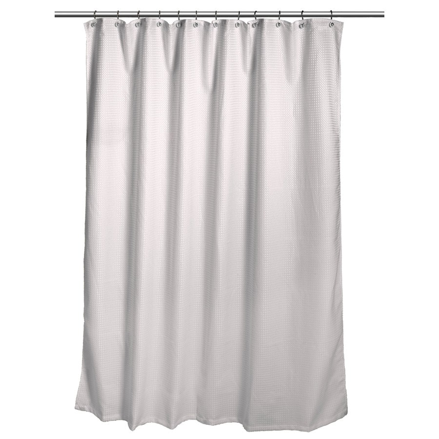 allen + roth Polyester Gray Waffle Patterned Shower Curtain