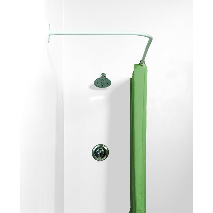 Zenith 66 In White L Shaped Fixed Shower Rod