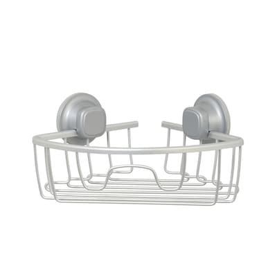 3 In H Suction Cup Aluminum Satin Chrome Hanging Shower Caddy