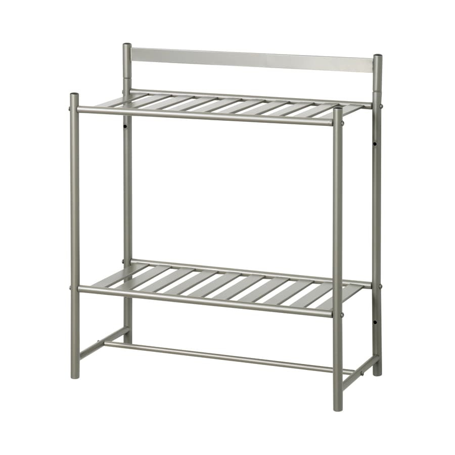 Zenna Home Simple Storage 2-Tier Satin Nickel Metal Bathroom Shelf