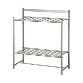 Style Selections 2 Tier Bathroom Storage Shelf Satin Nickel In The Bathroom Shelves Department At Lowes Com