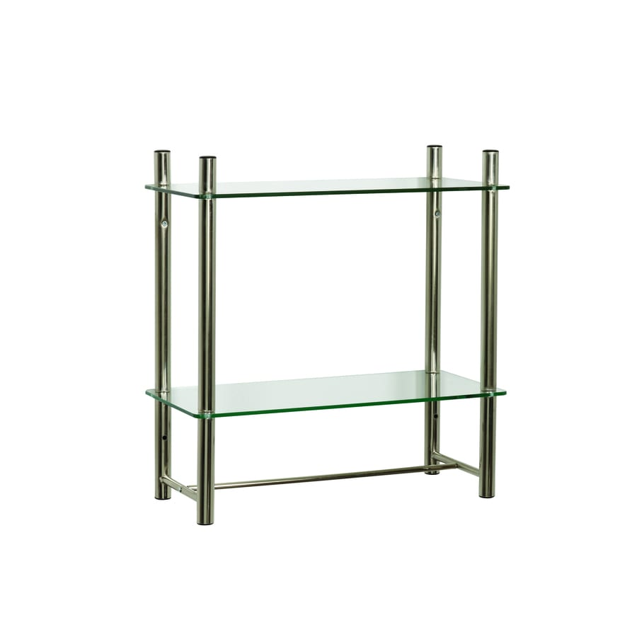 Zenna Home Oslo 2 Tier Brushed Nickel Metal Bathroom Shelf