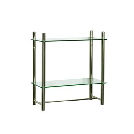 Zenna Home Oslo 2-Tier Brushed Nickel Metal Bathroom Shelf