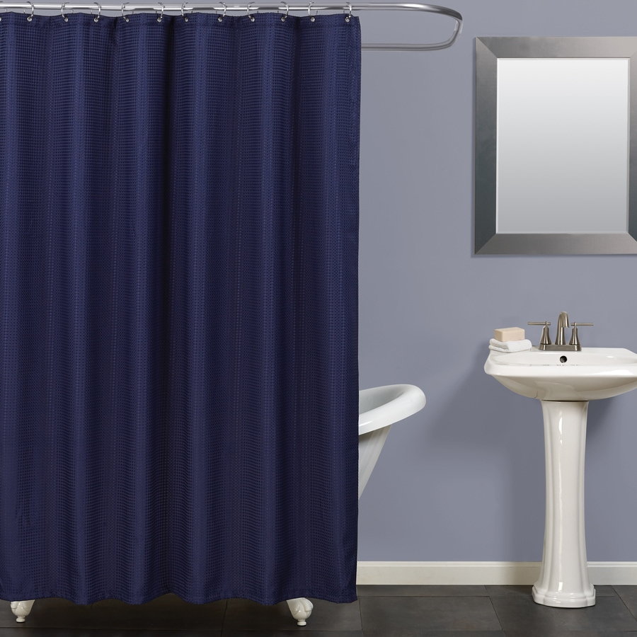 Zenna Home Polyester Navy Solid Shower Curtain