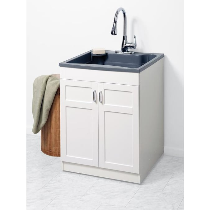 Zenna Home 24 In X 24 25 In 1 Basin Gray Freestanding Polypropylene Utility Tub With Drain And Faucet In The Utility Sinks Department At Lowes Com