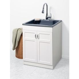 Zenna Home 24 In X 25 1 Basin Gray Freestanding Polypropylene Utility