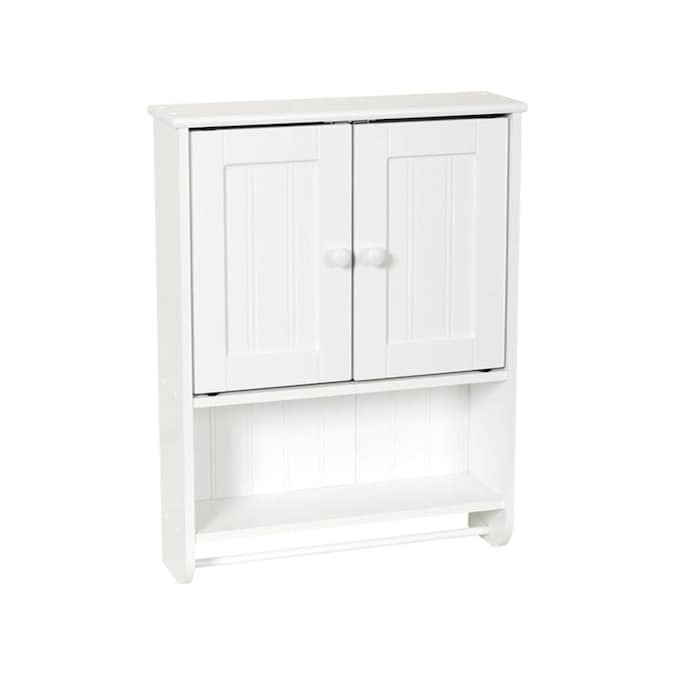 Zenith 19 19 In W X 25 63 In H X 5 75 In D White Bathroom Wall Cabinet In The Bathroom Wall Cabinets Department At Lowes Com