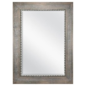 allen + roth 45.1-in L x 33.1-in W Gray with Pewter Beveled Wall Mirror