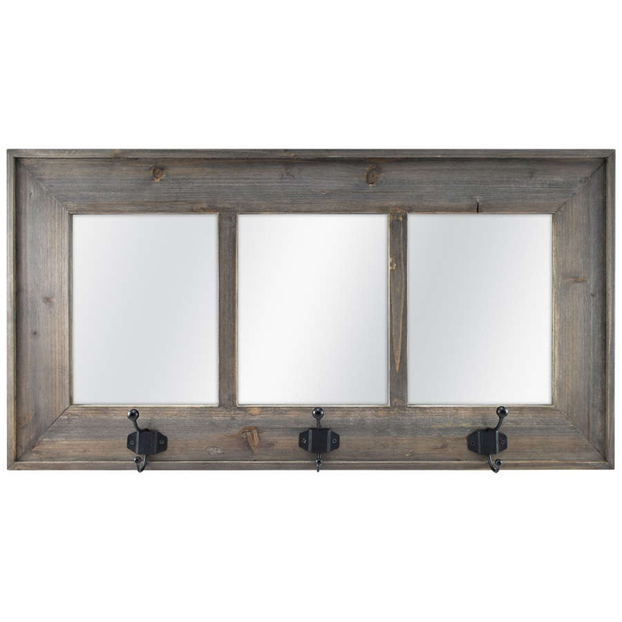 allen + roth Weathered Gray Polished Wall Mirror