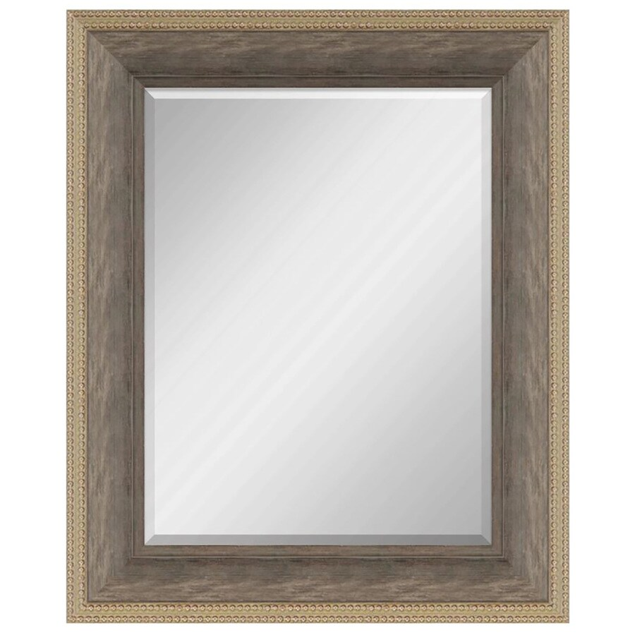 allen + roth 28-in x 34-in Natural Beveled Rectangle Framed Transitional Wall Mirror