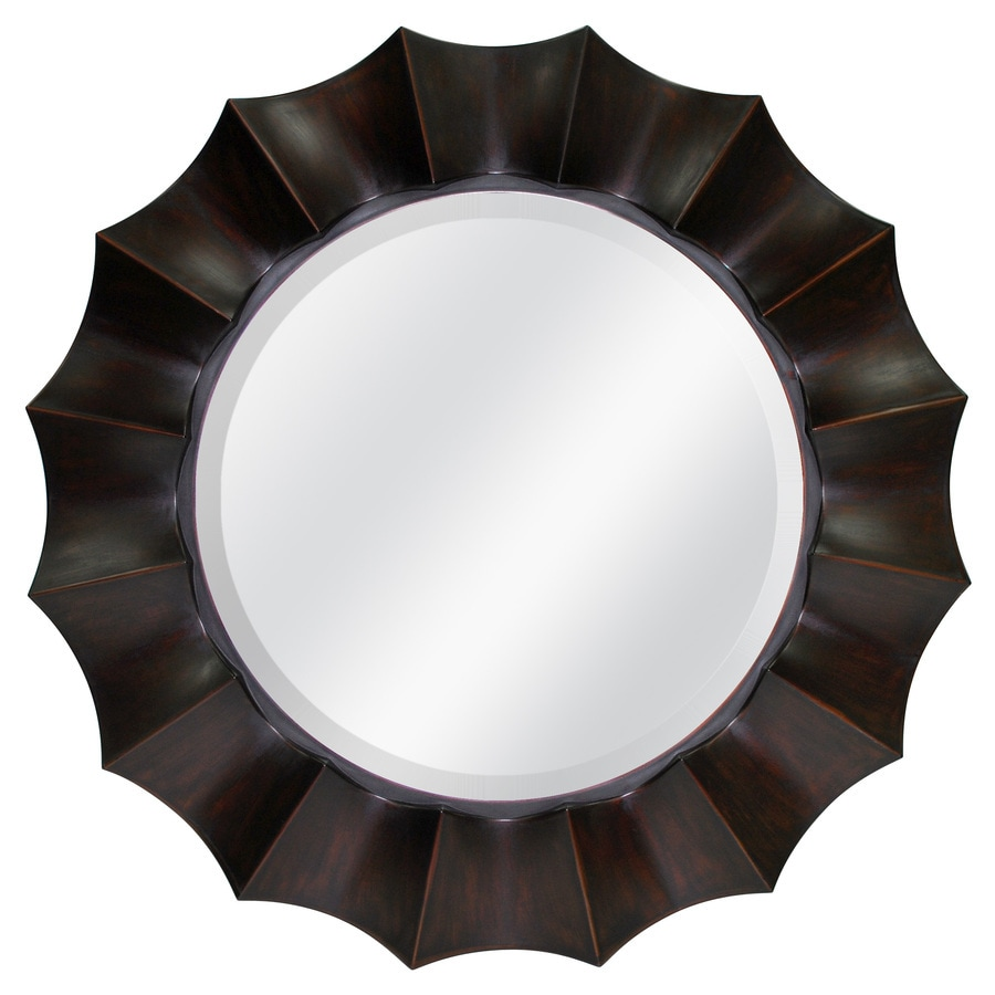 Shop allen roth oil rubbed bronze beveled round wall Round framed mirror