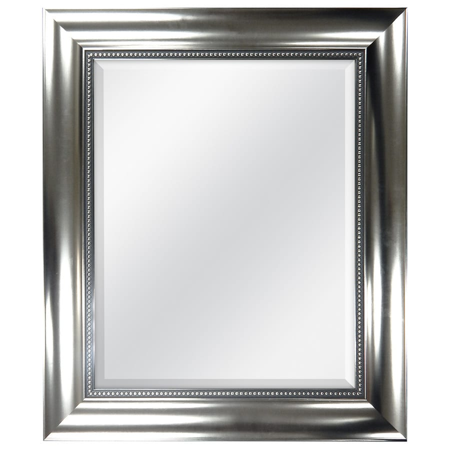 Style Selections 21-in x 25-in Silver Polished Rectangle Framed Wall Mirror