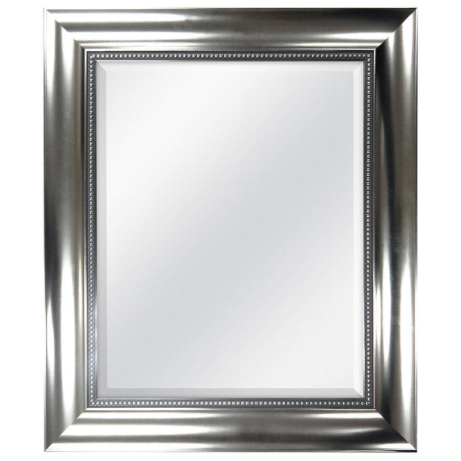 Style Selections 21-in x 25-in Brushed Nickel Beveled Rectangle Framed Wall Mirror