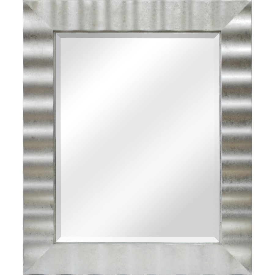 allen + roth 30-in x 36-in Silver Leaf Beveled Rectangle Framed Contemporary Wall Mirror