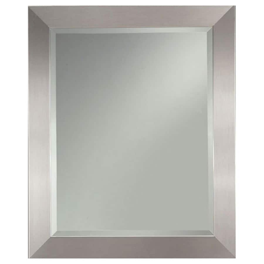 Shop allen roth silver leaf beveled wall mirror at for Inexpensive framed mirrors